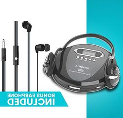 Portable CD Player Headphone &  Included - Skip Protection f