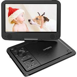 """COOAU 12.5"""" Portable DVD Player with 5 Hrs Rechargeable Batt"""