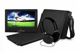 "Ematic 9"" Portable DVD Player with Matching Headphones and B"