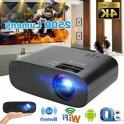 4K Full HD 1080p 2500LM LED Mini Projector 3D Bluetooth 4.0