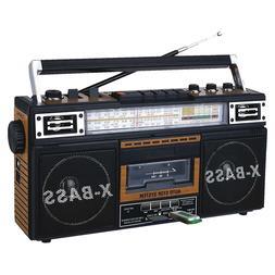 Portable Retro Boombox Radio Recorder Player USB/SD/AUX Cass