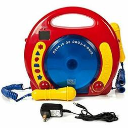 Portable Sing Along Cd/Usb/Sd Player Anti Skip With 2 Microp