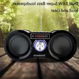 Portable FM Radio Stereo Speaker Rechargeable MP3/WMA Player