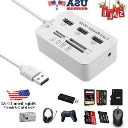 Aluminum 3 Port USB 3.0 Hub MS SD M2 TF Multi-In-1 Memory Ca