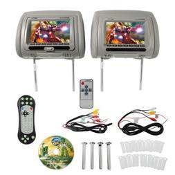 "Rockville RDP711-GR 7"" Grey Car Headrest Monitors w/DVD Pl"