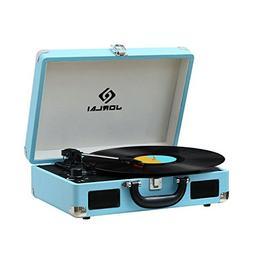JORLAI Rechargeable 3-Speed Vinyl Record Player Bluetooth Tu