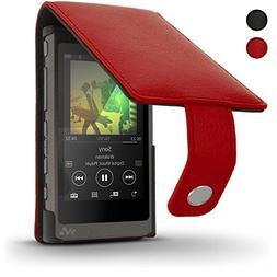 iGadgitz U6341 Red Leather Flip Case Cover for Sony Walkman