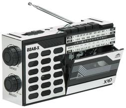QFX ReRun Retro Radio and Cassette Recorder/Player - Compact