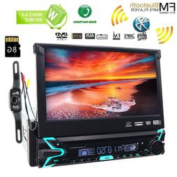 "Single 1DIN 7""HD Flip Out GPS Navigation Car Stereo DVD Play"