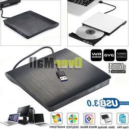 Slim External USB 3.0 DVD RW CD Drive Burner Reader Player F