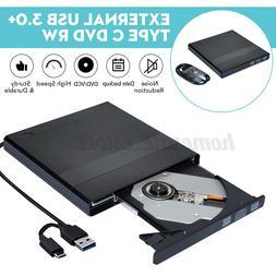 Slim External USB 3.0+Type-C CD DVD RW Writer Drive Burner R