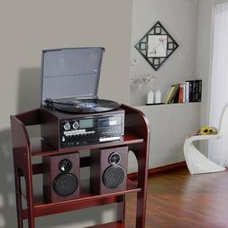 stereo turntable vinyl record player with speakers