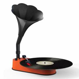 Turntable Record Player with Horn Speaker for 33/45 RPM Reco