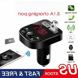 US Bluetooth Car USB Charger FM Transmitter Wireless Radio A