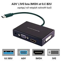 USB 3.0 to HDMI-VGA-DVI Monitor External Video Card Adapter,