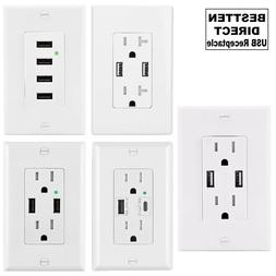 BESTTEN USB Charger Outlet with HIGH SPEED In-Wall 15A and 2