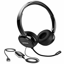 Mpow USB/3.5mm Headset Computer with Noise Cancelling Mic St