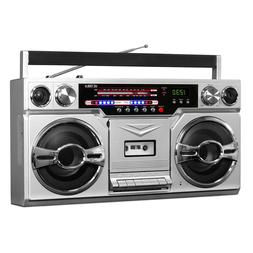 Victrola VBB-10-SLV 1980's Bluetooth Boombox with Cassette P