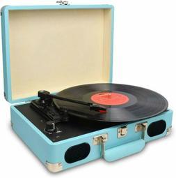 Vintage Turntable,3 Speed Vinyl Record Player-Suitcase Built