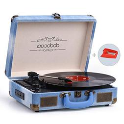dodocool Vinyl Record Player, Vintage Bluetooth Turntable 3-