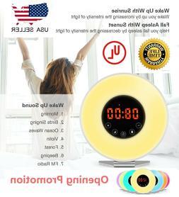 Wake Up Light Alarm Clock Digital LED 6 Color Switch Radio S