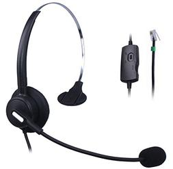 Wantek Wired Telephone RJ Headset with Flexible Noise Cancel