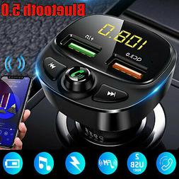 Wireless Bluetooth 5.0 FM Transmitter QC3.0 Car USB Charger