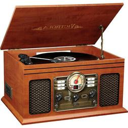 Victrola Wooden 6-in-1 Nostalgic Bluetooth Record Player Wit